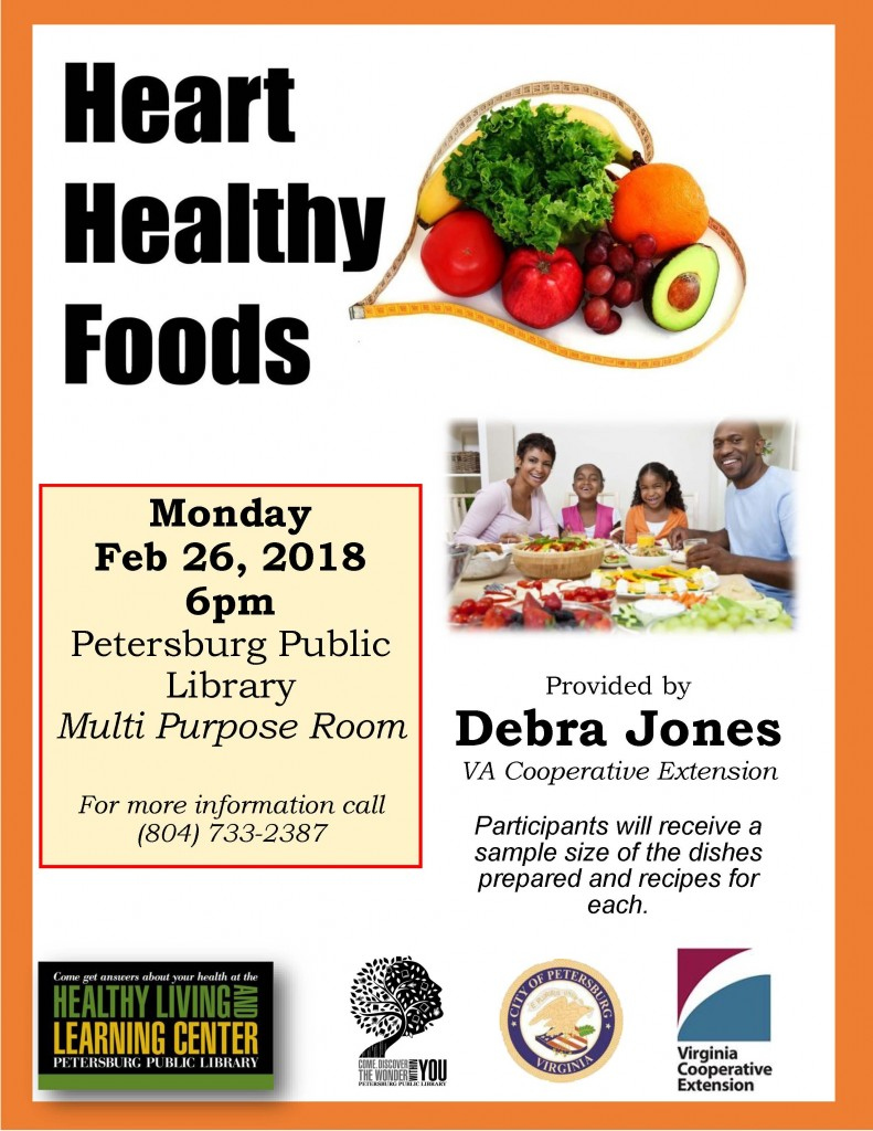 click here for printable PDF of Heart Healthy Foods